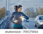 young fitness woman runner... | Shutterstock . vector #705175816
