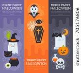 flat halloween banners with... | Shutterstock .eps vector #705176806