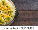 close up mango crepe with fresh ... | Shutterstock . vector #705188122