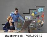 digital composite of business... | Shutterstock . vector #705190942