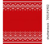 christmas knitted pattern.... | Shutterstock . vector #705191902
