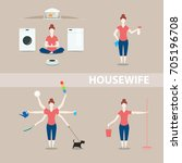 housewife is meditating... | Shutterstock .eps vector #705196708