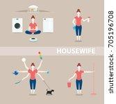 housewife is meditating... | Shutterstock .eps vector #705196708