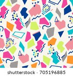 seamless memphis pop pattern in ... | Shutterstock .eps vector #705196885