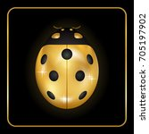 ladybug gold insect small icon. ... | Shutterstock .eps vector #705197902