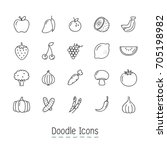 doodle fruits and vegetable... | Shutterstock .eps vector #705198982