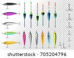 fishing lures set. fish hook....   Shutterstock .eps vector #705204796