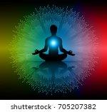 man meditate dark yellow red... | Shutterstock .eps vector #705207382