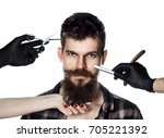 handsome guy with long beard... | Shutterstock . vector #705221392