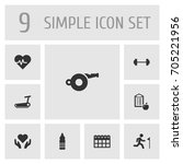 set of 9 fitness icons set