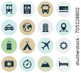 exploration icons set.... | Shutterstock .eps vector #705228802