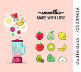 cartoon smoothies set. blender... | Shutterstock .eps vector #705234616