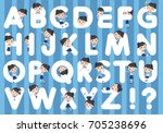 set of various poses of... | Shutterstock .eps vector #705238696