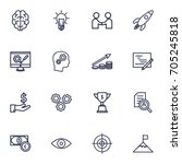 set of 16 idea outline icons... | Shutterstock .eps vector #705245818