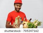 delivery concept   handsome...   Shutterstock . vector #705247162