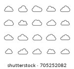 premium set of cloud line icons.... | Shutterstock .eps vector #705252082