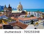 old town of cartagena unesco... | Shutterstock . vector #705253348