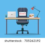office workplace with vacancy... | Shutterstock .eps vector #705262192