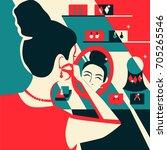 woman trying on earrings... | Shutterstock .eps vector #705265546