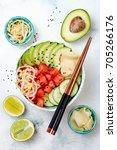 hawaiian watermelon poke bowl... | Shutterstock . vector #705266176