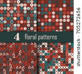set of four seamless floral... | Shutterstock .eps vector #705272656