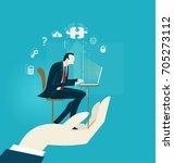 human hand holding businessmen ... | Shutterstock .eps vector #705273112