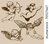 set of various angels or cupids....