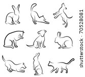 Stock vector dog cat rabbit animal drawing vector 70528081