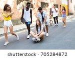 portrait of group of active... | Shutterstock . vector #705284872