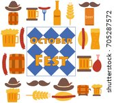 octoberfest icons and patterns... | Shutterstock .eps vector #705287572