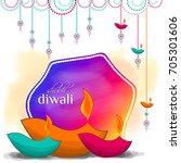 happy diwali card. vector... | Shutterstock .eps vector #705301606