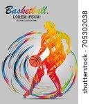 visual drawing sport basketball ... | Shutterstock .eps vector #705302038
