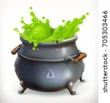 pot. witch kitchen. happy... | Shutterstock .eps vector #705303466