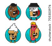cartoon cool coffee bean  paper ... | Shutterstock . vector #705303976