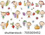 funny sketchy kids with fruits... | Shutterstock .eps vector #705305452