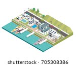 modern luxury isometric green... | Shutterstock .eps vector #705308386