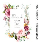 vintage card  watercolor... | Shutterstock . vector #705310702