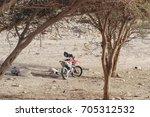 moto cross bike parked by... | Shutterstock . vector #705312532