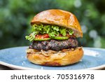 brioche bun with burger  fried...   Shutterstock . vector #705316978
