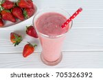 strawberry smoothie and... | Shutterstock . vector #705326392