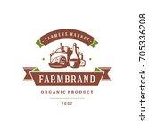 farmers market logo template... | Shutterstock .eps vector #705336208