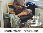hygge home interior. cozy home... | Shutterstock . vector #705343405