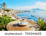 cup of fresh espresso coffee in ... | Shutterstock . vector #705344605