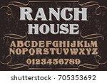 vintage font alphabet... | Shutterstock .eps vector #705353692