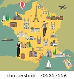 france travel map with sights... | Shutterstock .eps vector #705357556
