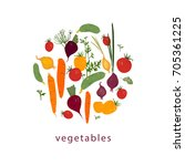 tomatoes  carrots  cucumbers ... | Shutterstock .eps vector #705361225