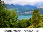 view into beautiful mountain... | Shutterstock . vector #705365212