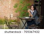 happy casual beautiful... | Shutterstock . vector #705367432