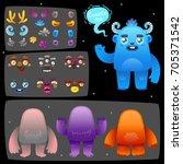 funny cartoon monster... | Shutterstock .eps vector #705371542