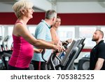 seniors training on cross... | Shutterstock . vector #705382525